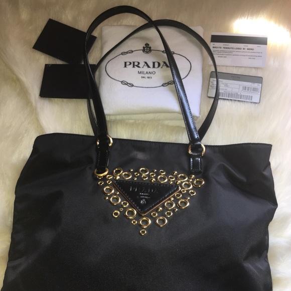ab3c7c41fc7a ... coupon code for prada tessuto logo grommet black nylon shldr bag 18873  2f1b9
